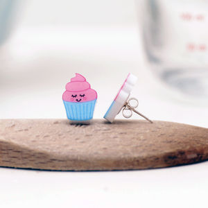 Illustrated Cupcake Acrylic Stud Earrings