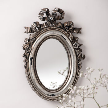silver bow oval vintage mirror by hand crafted mirrors | notonthehighstreet.com