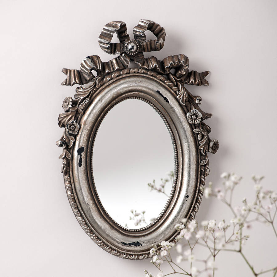 Silver Bow Oval Vintage Mirror By Hand Crafted Mirrors