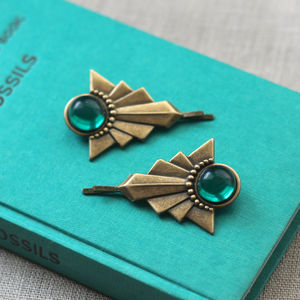 Art Deco Bronze Hair Grips - hair accessories