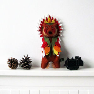 Handmade Felt Native American Bear - sculptures