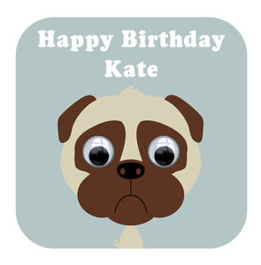 Wobbly Eyed Pug Card - birthday cards