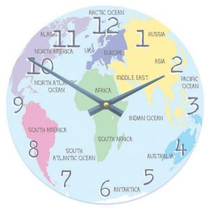 Pastel World Map Clock - clocks
