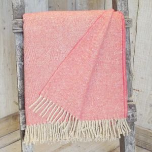 ' Coral ' Herringbone Tweed Throw