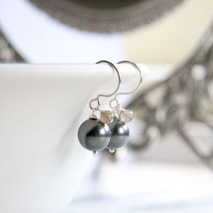 Grey And Fine Silver Glass Pearl Earrings