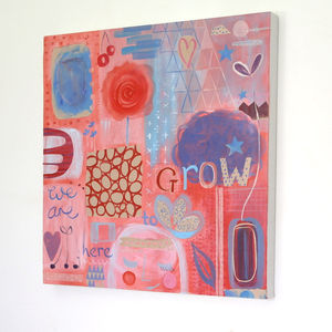 We Are Here To Grow Girl's Abstract Painting - pictures & prints for children