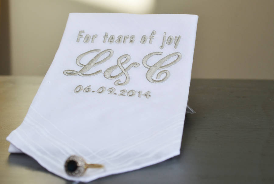 Tears Of Joy Personalised Wedding Handkerchief