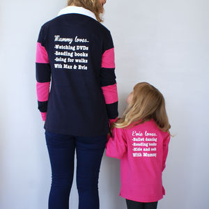 Personalised 'We Love' Rugby Shirt Set - lounge & activewear