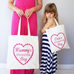 Personalised Mummy And Me Heart Shopper Bag Set