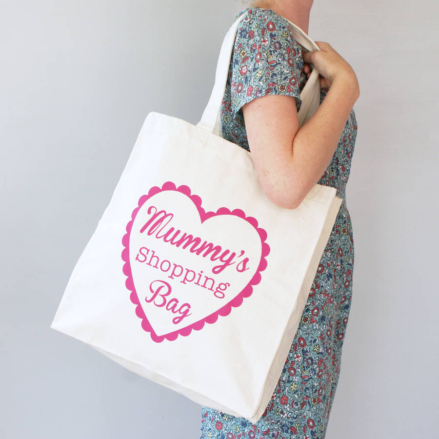 personalised mummy and me heart shopper bag set by sparks clothing ...