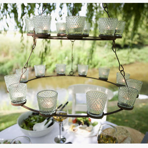 Shaker Metal Hanging Tea Light Chandelier - lights & lanterns