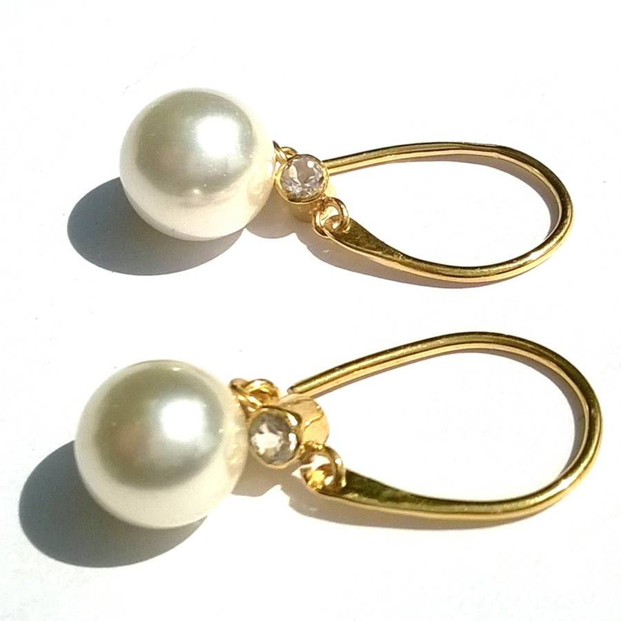 gold pearl earrings drop earrings by amara amara
