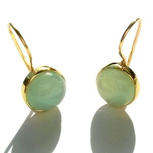 Aqua Chalcedony Earrings Gold Earrings Pattern Cut