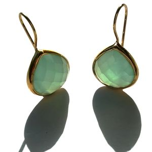 Aqua Chalcedony Earrings Oval Gold