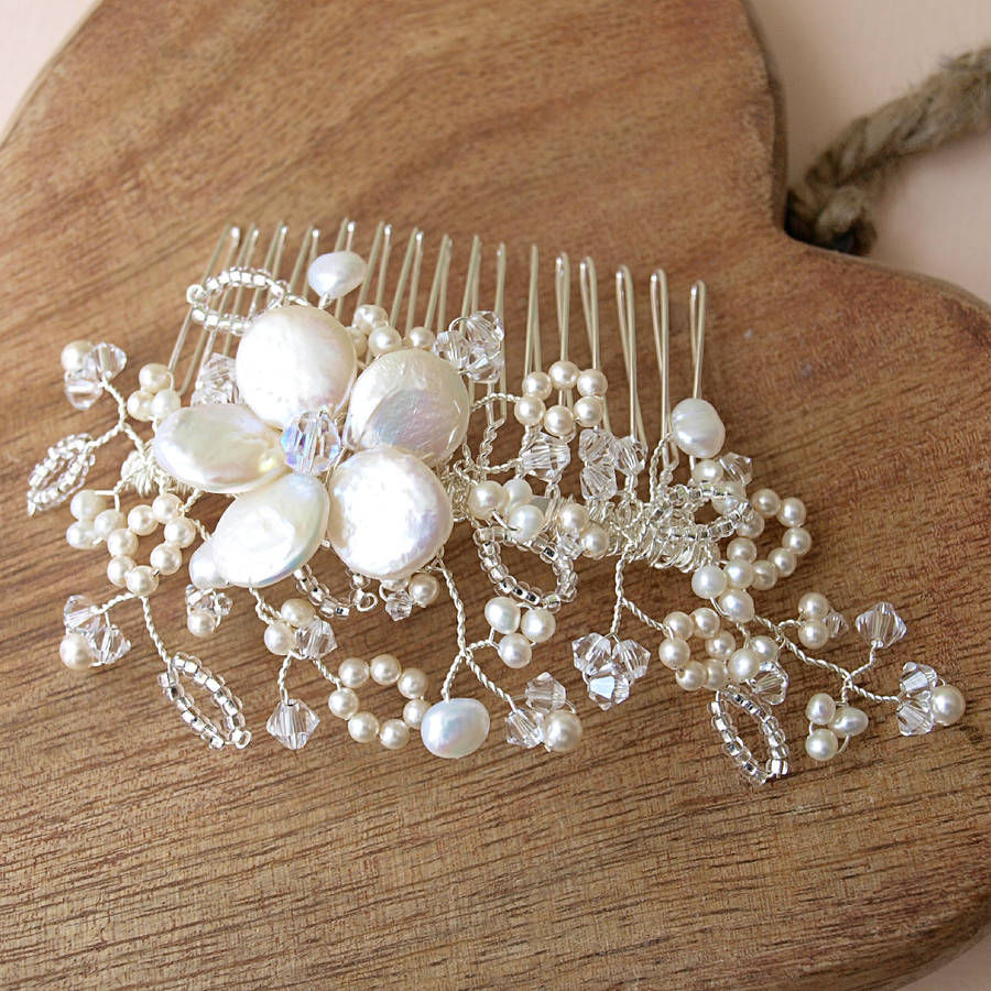 lace pearl and crystal bridal hair comb by jewellery made by me