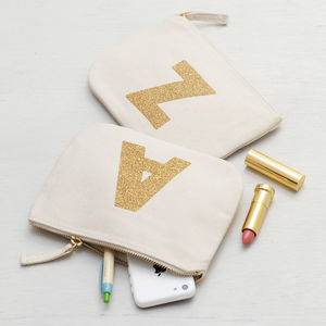 Canvas Glitter Initial Pouch - wedding fashion
