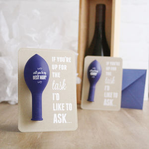 'Up For The Task' Best Man, Usher And Page Boy Cards - wedding cards