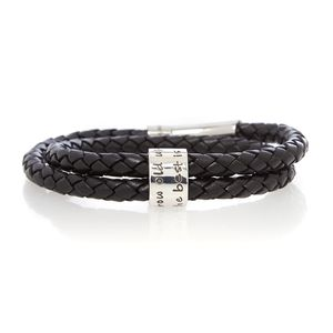 Grow Old With Me Black Wrapped Men's Leather Bracelet - bracelets