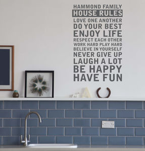 Create Your Own Family House Rules - wall stickers