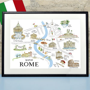 Alice Tait 'Map Of Rome' Print - personalised