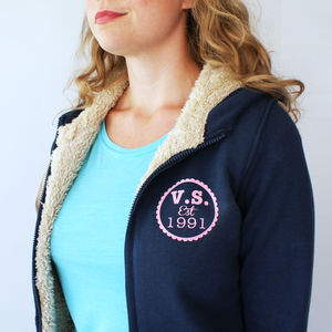 Personalised Ladies Established Sherpa Hoodie - coats & jackets