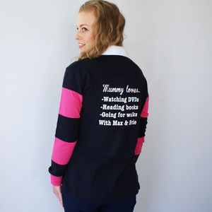 Personalised Womens 'My Favourite Things' Rugby Shirt
