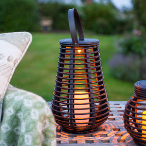 Tall Solar Rattan Lantern Light