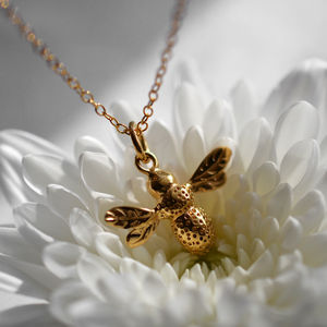 Personalised Gold Bee Necklace - women's jewellery