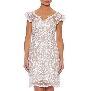 Embroidered Frill Sleeve Silk Organza Dress - women's fashion