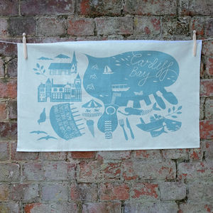 'Cardiff Bay' Tea Towel - kitchen accessories
