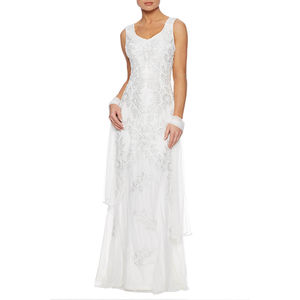 Georgette Maxi Dress With Leaf Embroidery - wedding dresses