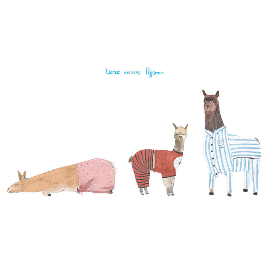 Llamas In Pyjamas Print By Eightbear Notonthehighstreet Com