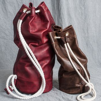 Leather Sailor Duffel Bag   Hand Stitched