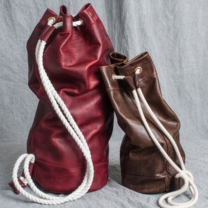 Leather Sailor Duffel Bag   Hand Stitched - holdalls & weekend bags