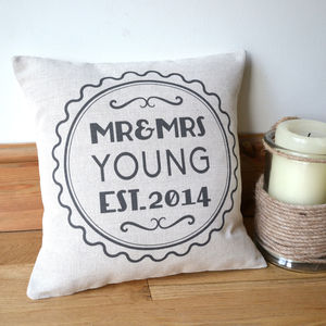 Personalised Retro Style Mr And Mrs Cushion Cover - 2nd anniversary: cotton