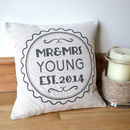 Personalised Retro Style Mr And Mrs Cushion Cover