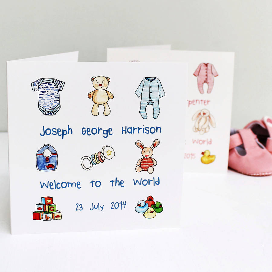 personalised new baby card by martha brook