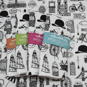 Illustrated British Tea Towel - kitchen linen
