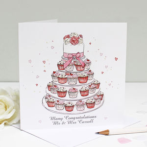 Personalised Wedding Cupcakes Greeting Card - wedding stationery