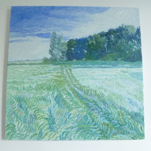 'Grassy Field And Trees' Oil Painting