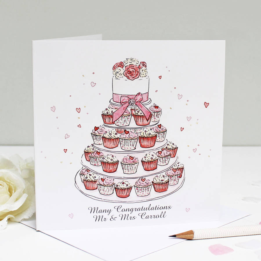 Personalised Wedding Cupcakes Greeting Card By Martha Brook