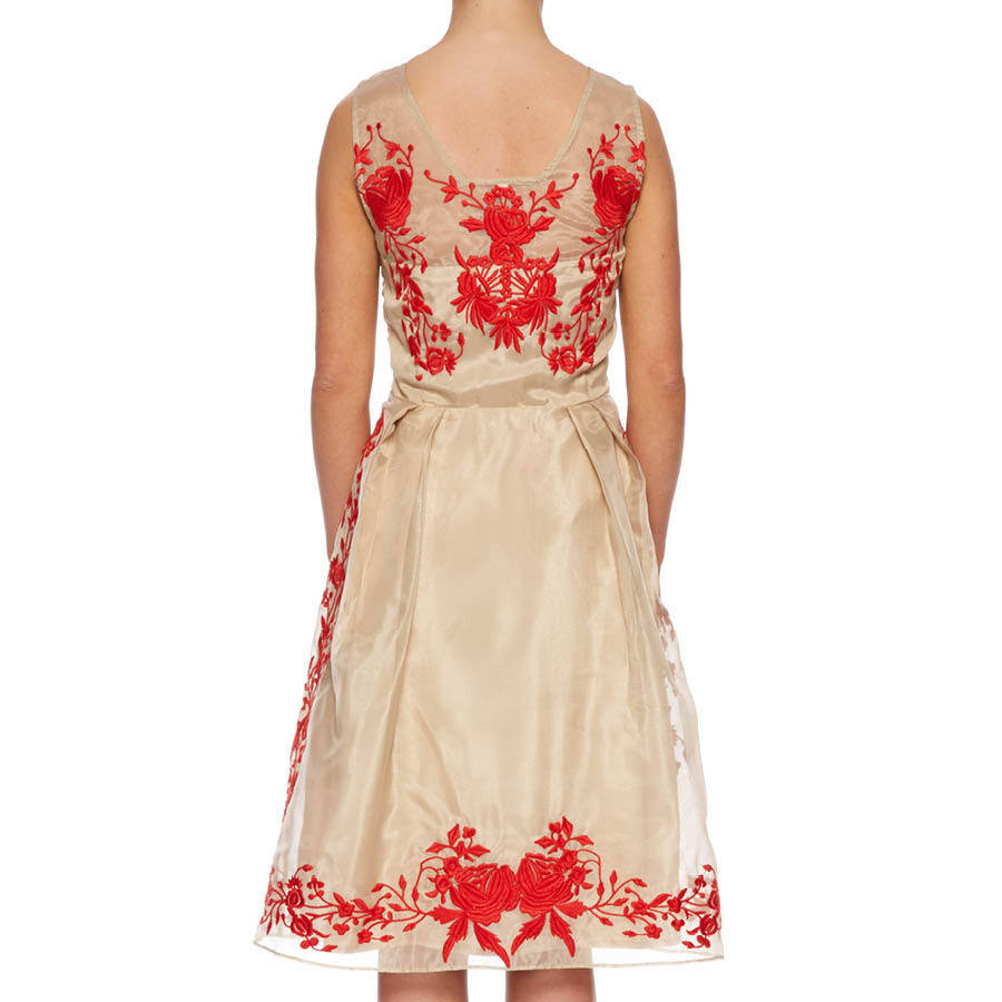 Organza midi dress with floral embroidery by raishma