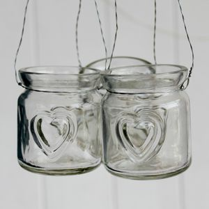 Vintage Style Glass Heart Tea Light Holder