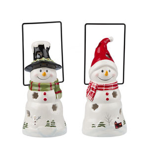 Ceramic Snowman Christmas Lantern - candles & candlesticks