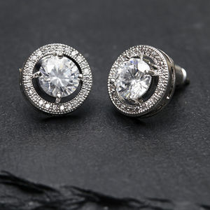 Solitaire Halo Crystal Earrings