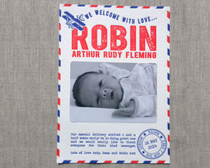 Airmail Letterpress Birth Announcement - new baby & christening cards