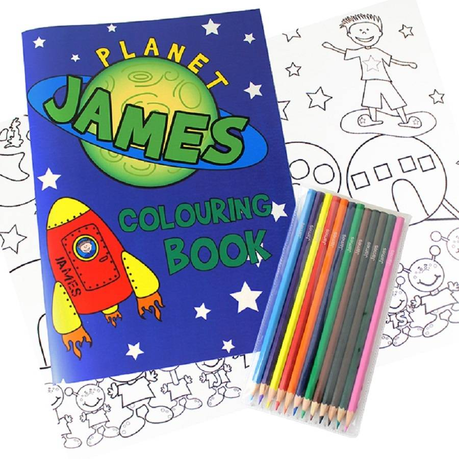 personalised colouring books with colouring pencils set by babyfish