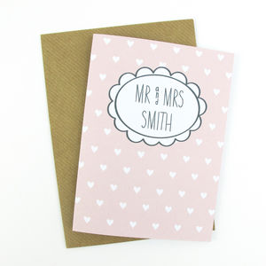 Personalised Mr And Mrs Heart Card