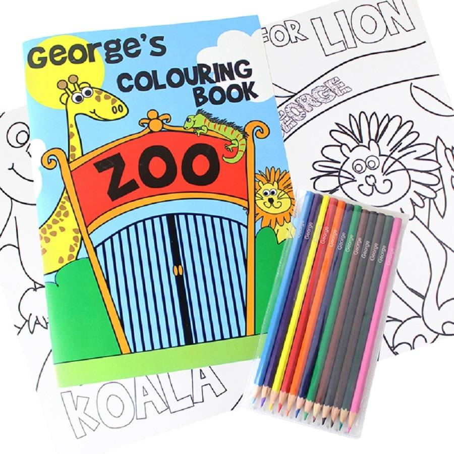 personalised colouring books with colouring pencils set by ...