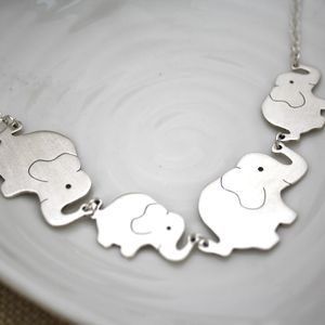 Personalised Elephant Family Silver Necklace